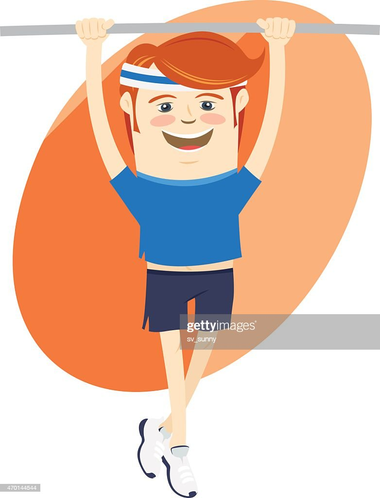 Hipster funny sportsman hanging on horizontal bar. Flat style