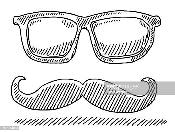 Hipster Glasses Mustache Drawing
