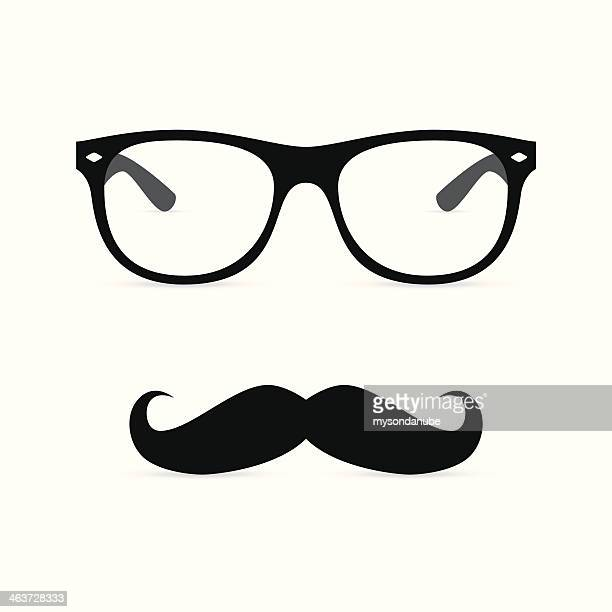 Hipster glasses with mustache. Vector illustration