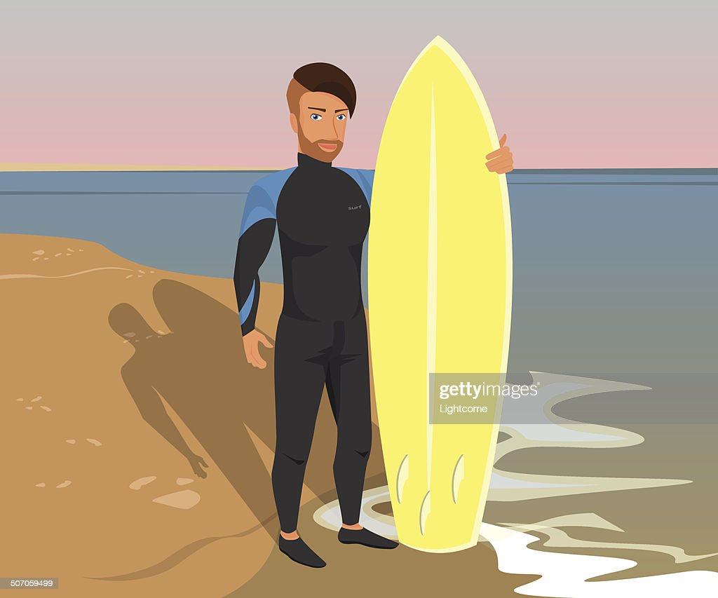 Hipster guy wearing diving suit with yellow surfboard on the