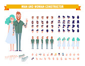 Hipster guy with tattoo and blue hair girl creation set. Vector cartoon characters for animation