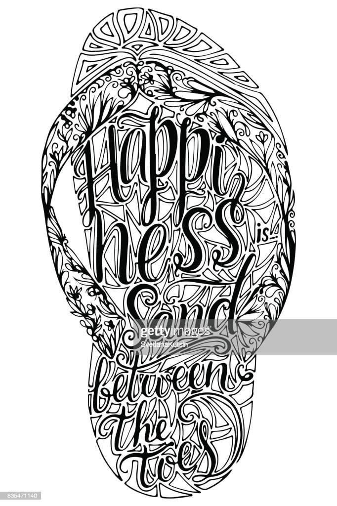 03f20c672 Hipster Hand Drawn Flip Flop With Inscription stock vector