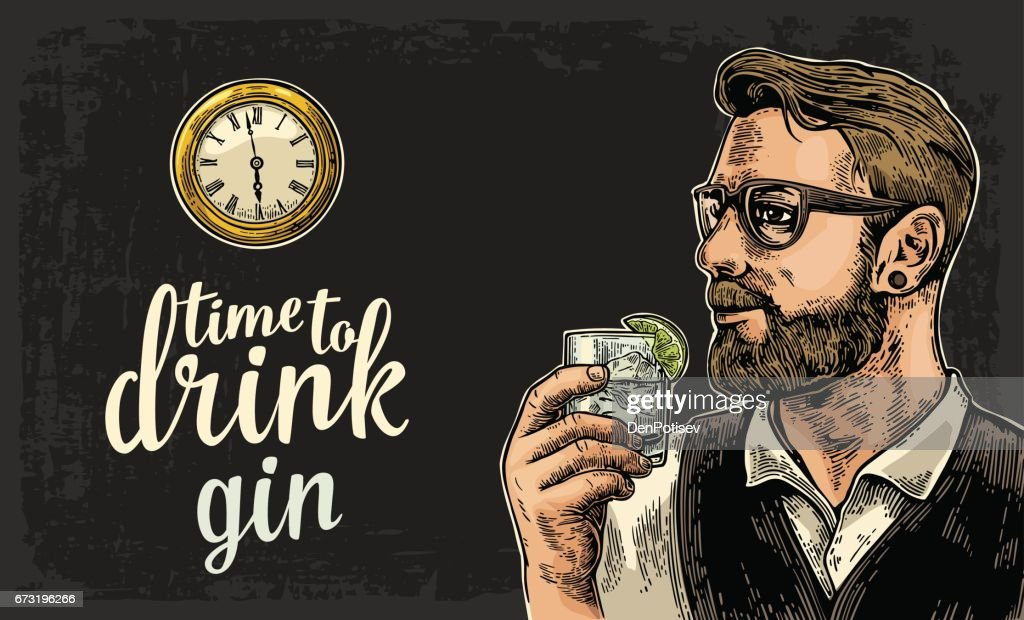 Hipster holding a glass of gin and antique pocket watch.
