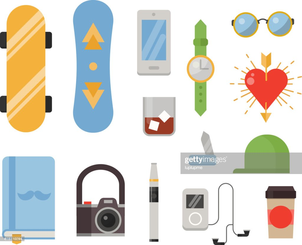 Hipster icons vector set.