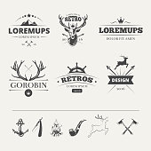 Hipster labels set with deer and antlers