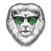 Hipster lion in sunglassesprint design