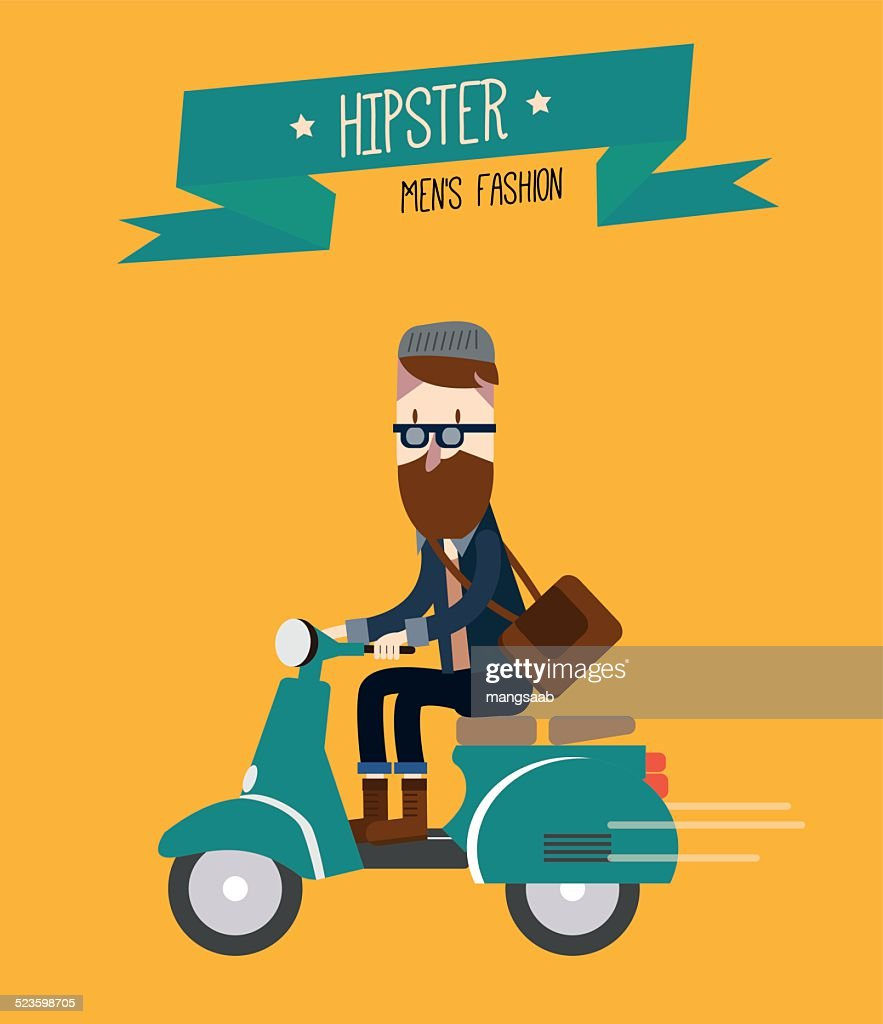 Hipster man is riding scooter.