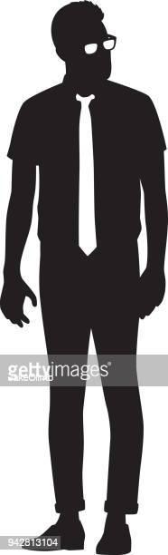 ilustraciones, imágenes clip art, dibujos animados e iconos de stock de silueta de hombre hipster - hípster urbano