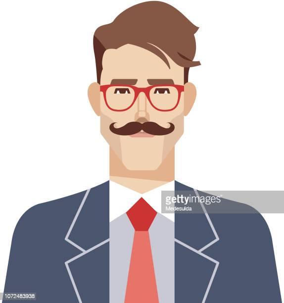 Hipster Man Vector Avatar