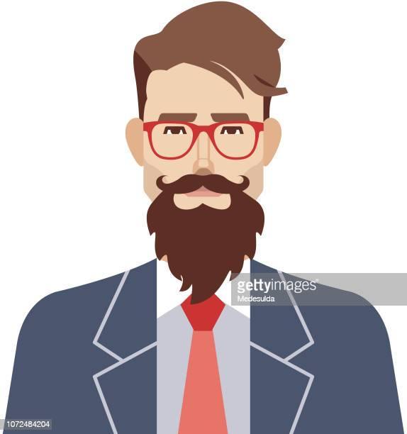 ilustrações de stock, clip art, desenhos animados e ícones de hipster man vector avatar - cavanhaque