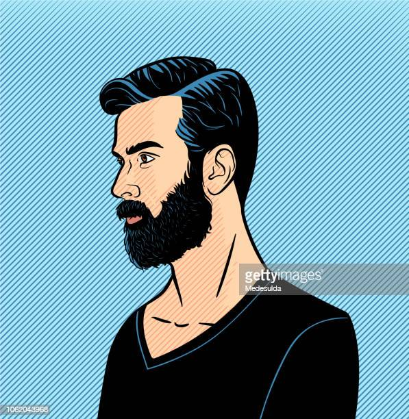 hipster man vector halftone - avatar stock illustrations