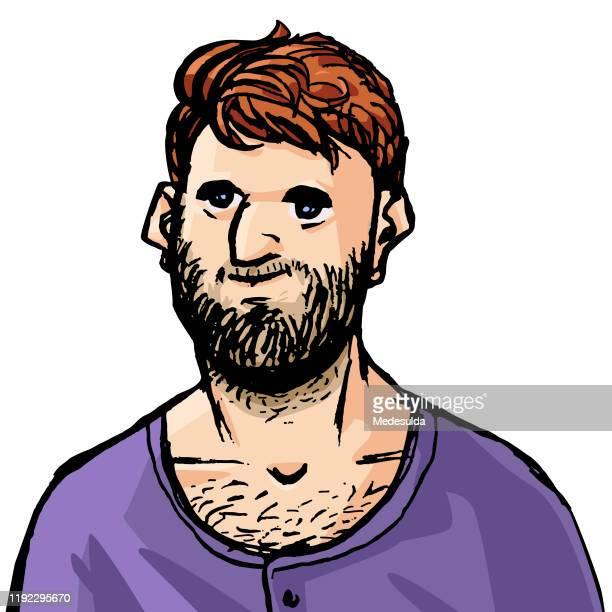 hipster-mann - menschlicher kopf stock-grafiken, -clipart, -cartoons und -symbole