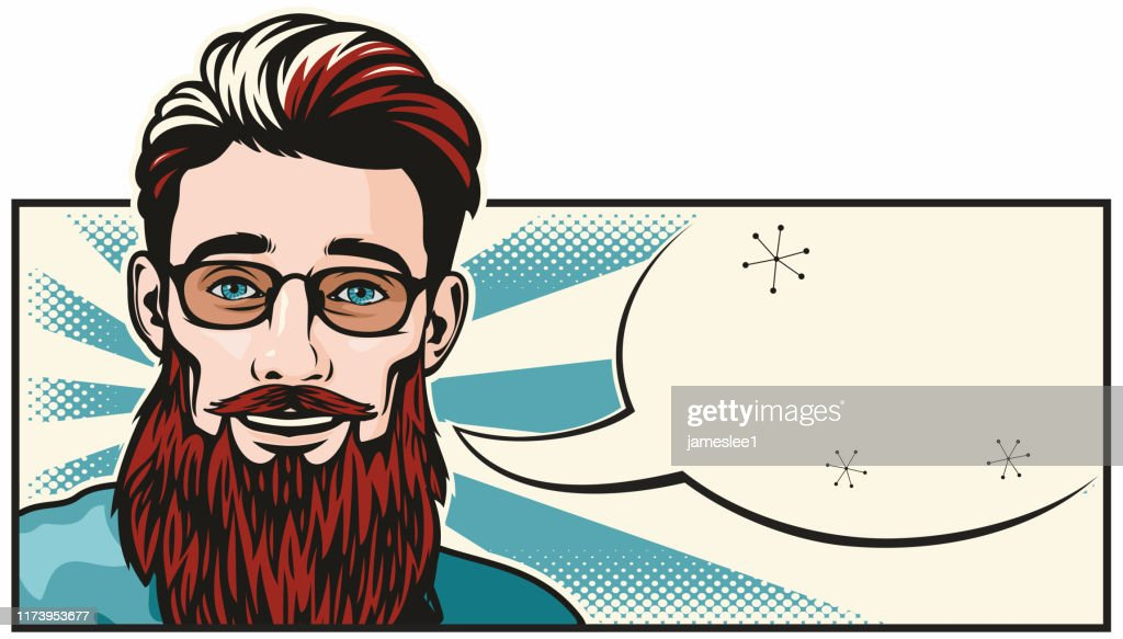 Hipster man with speech bubble : stock illustration