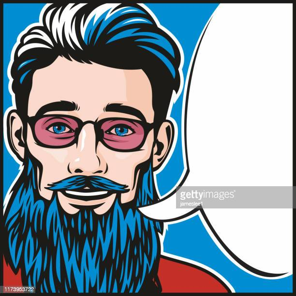 hipster man with speech bubble - horn rimmed glasses stock illustrations, clip art, cartoons, & icons