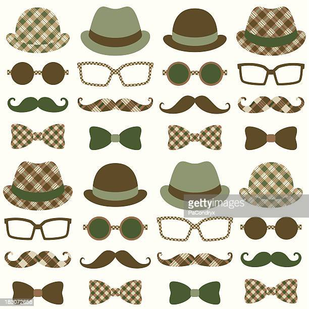 Hipster Moustache Retro Pattern