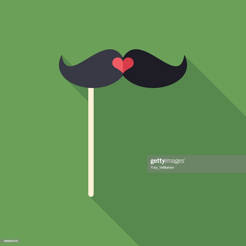 Hipster mustache on a stick flat icon with long shadows.