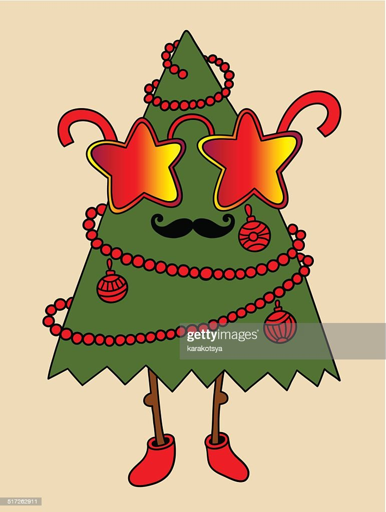 hipster new year tree with star glasses and moustaches, christma