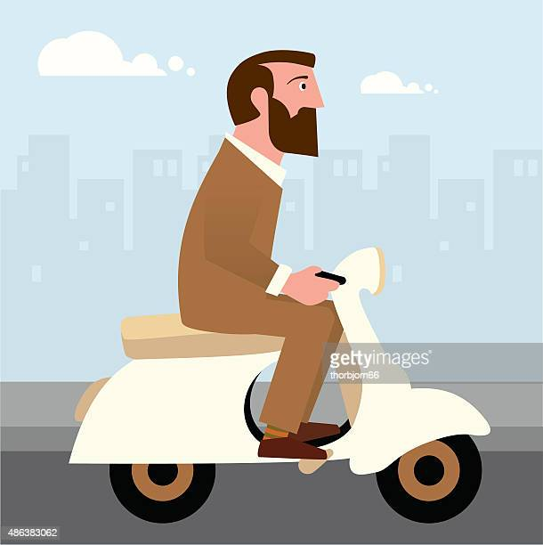 Hipster on a scooter