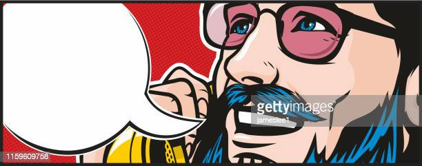 hipster on the phone - wide screen stock illustrations