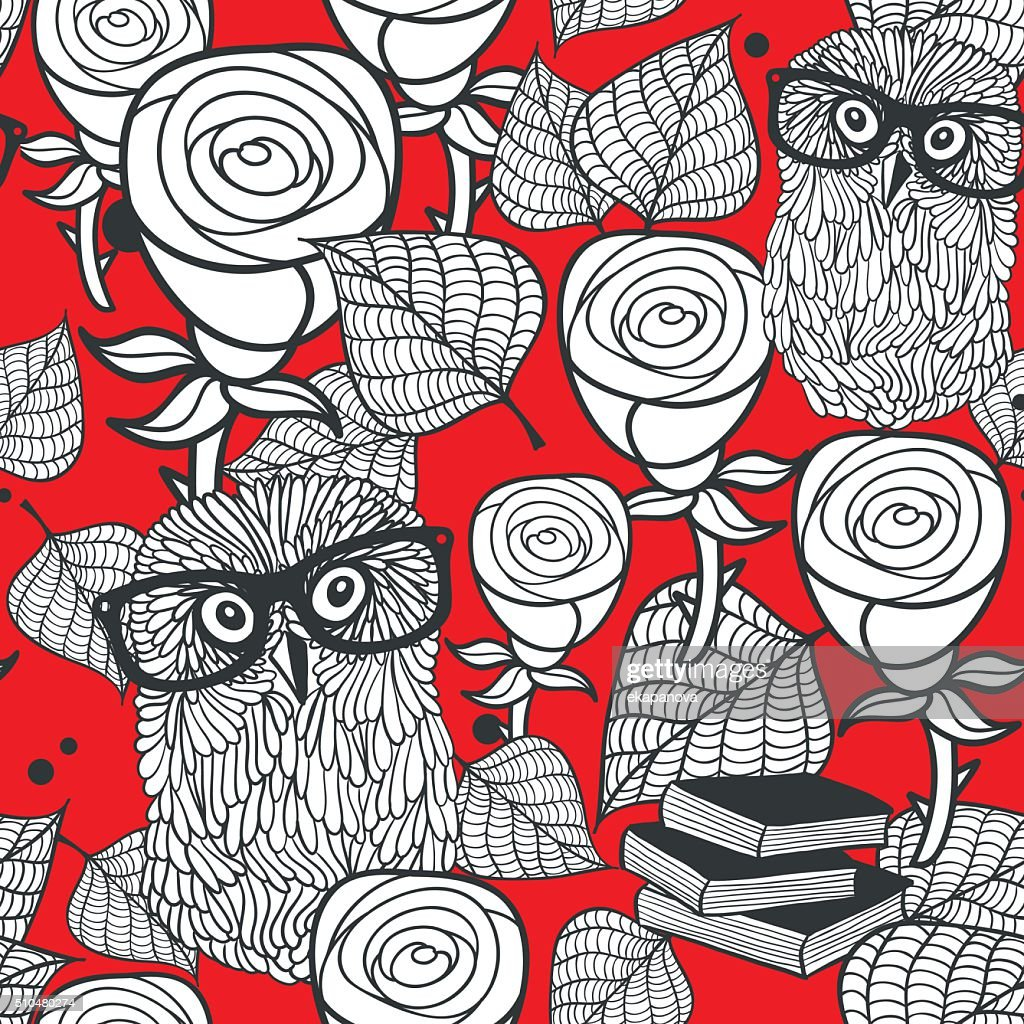 Hipster owls in glasses with tender roses seamless pattern.