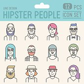 Hipster people line design colorful icon set. Trendy vector illustrations.