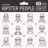 Hipster people line design icon set. Trendy vector illustrations.