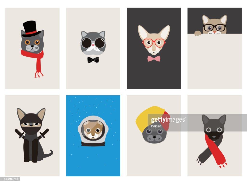 hipster, portrait of cat, gentlemen cat : Illustrationer