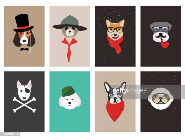 illustrations, cliparts, dessins animés et icônes de hipster, portrait of dog, gentlemen dog - faune
