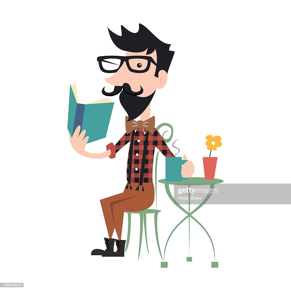 Hipster reading book