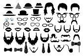 hipster retro icon party set vector