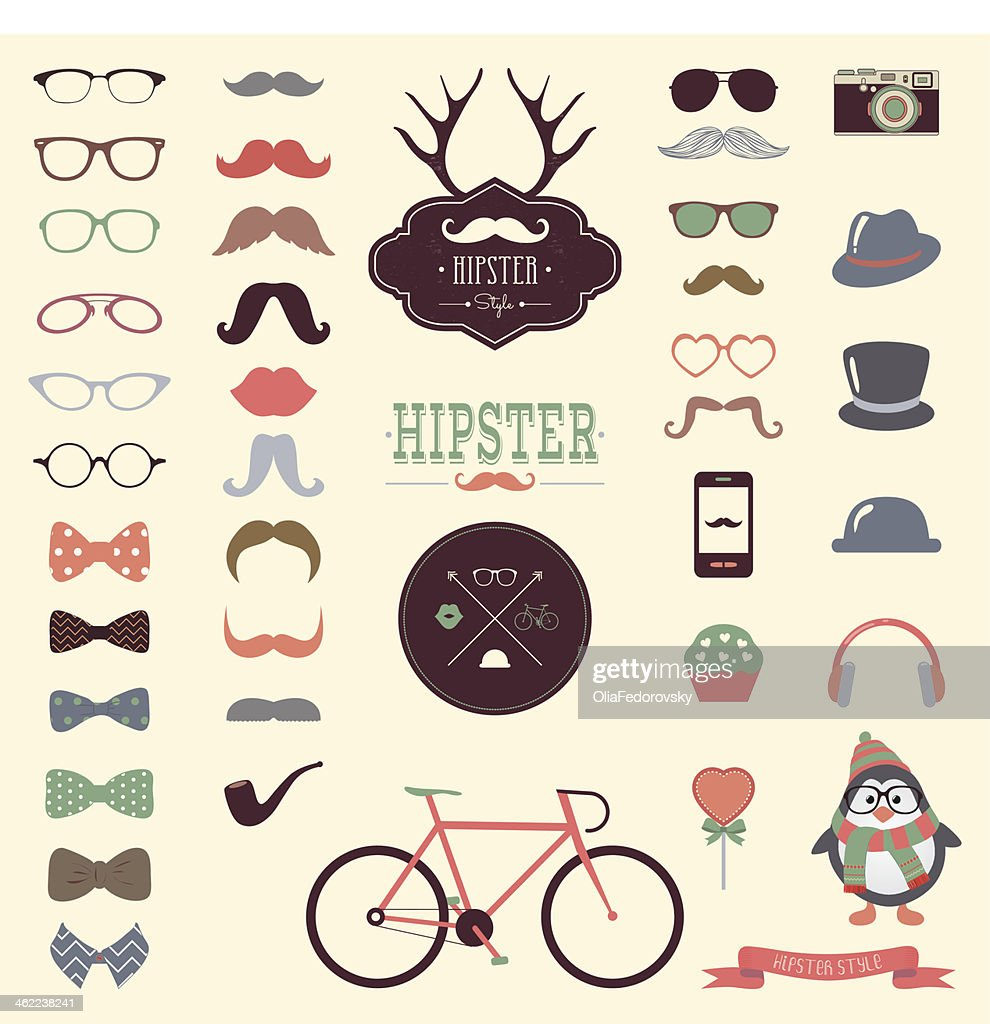 Hipster Retro Vintage Icon Set