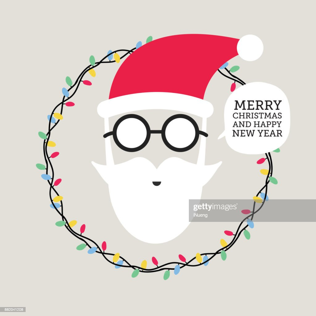 Hipster Santa Claus Greeting Card Or Invitation On Christmas New