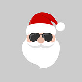 Hipster Santa Claus with cool beard and sunglasses.