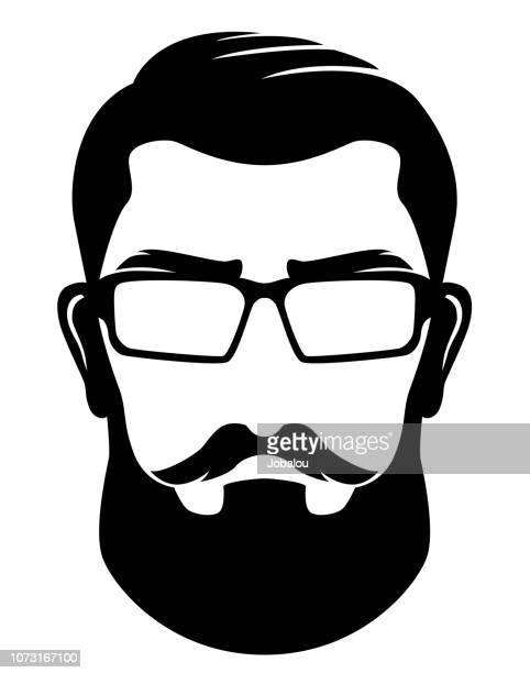 Hipster Silhouette Profile Man Clip Art
