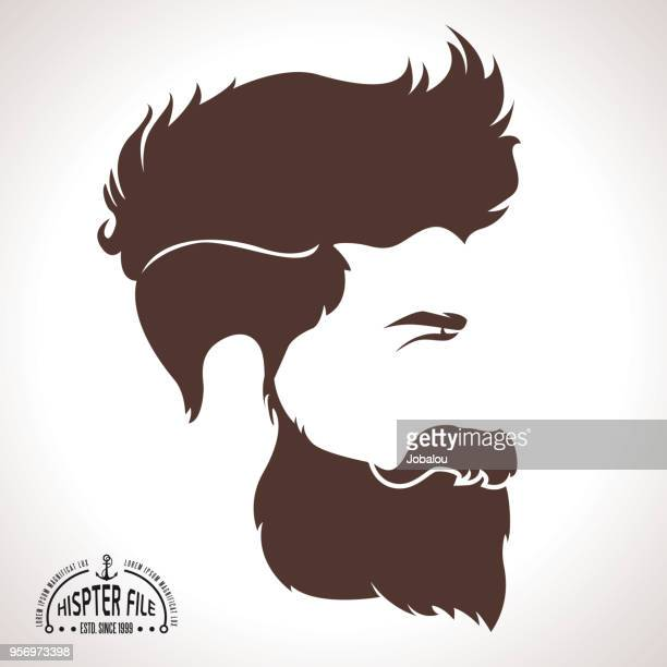 hipster silhouette profile man - moustache stock illustrations
