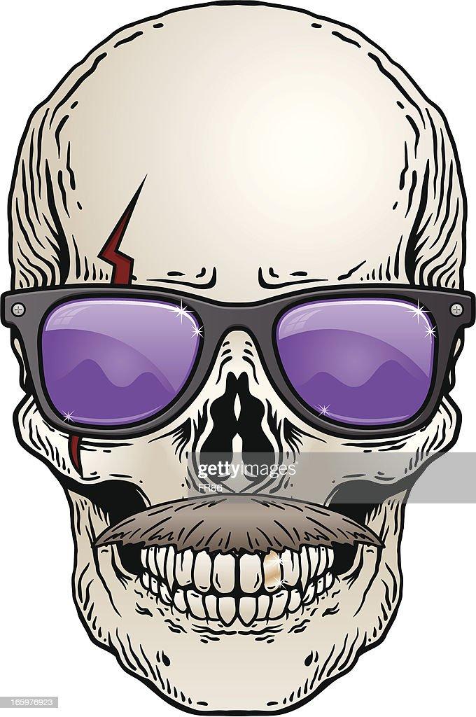 Hipster Skull : stock illustration