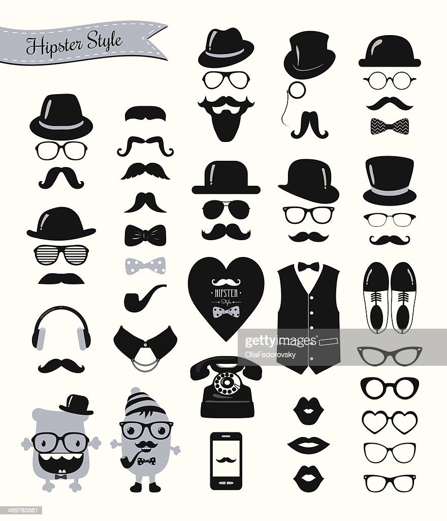 Hipster style banner, mustaches and retro icon set