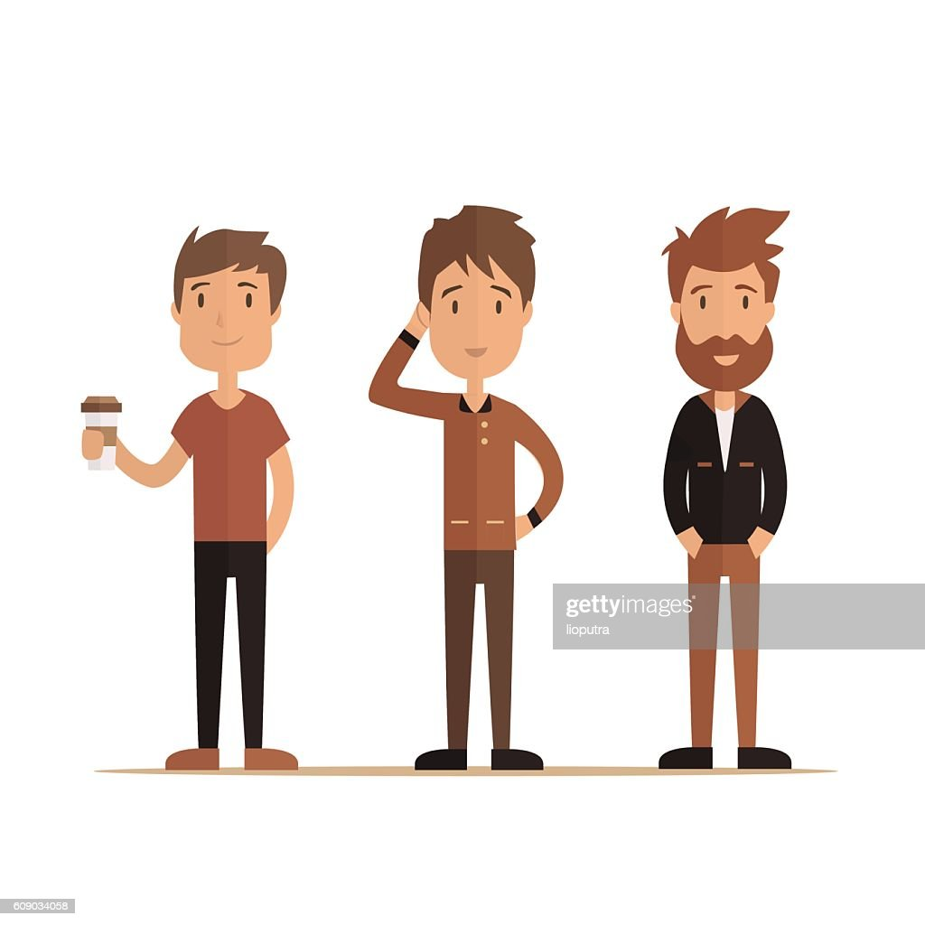 Hipster style bearded man, character set collection. Vector illustration