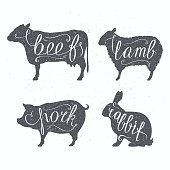 Hipster style farm animals silhouetts. Beef, lamb, pork and rabbit