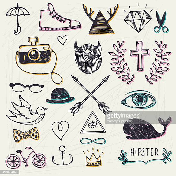hipster style hand-drawn elements - moustache stock illustrations