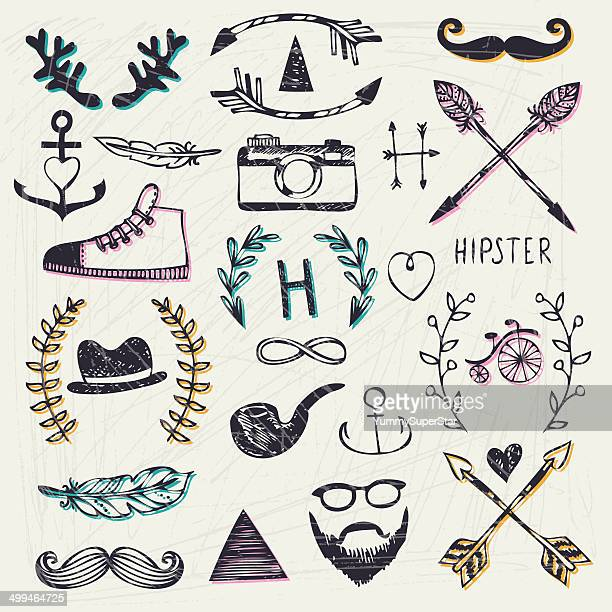 Hipster style hand-drawn elements