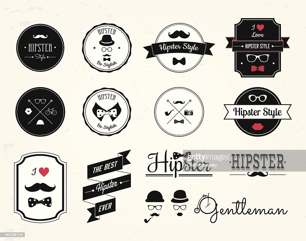 14 hipster style labels, icons, logo in red, white and black