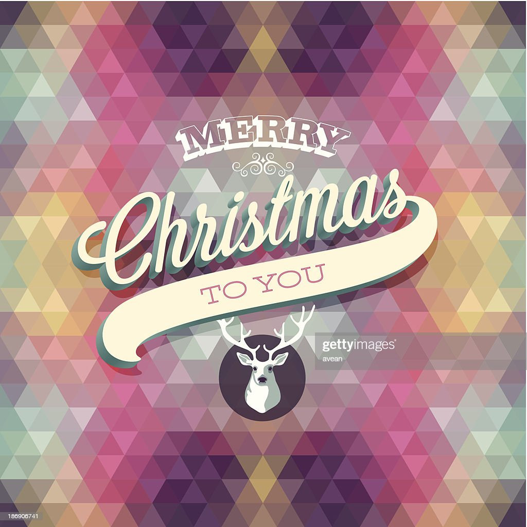 Hipster style merry Christmas poster