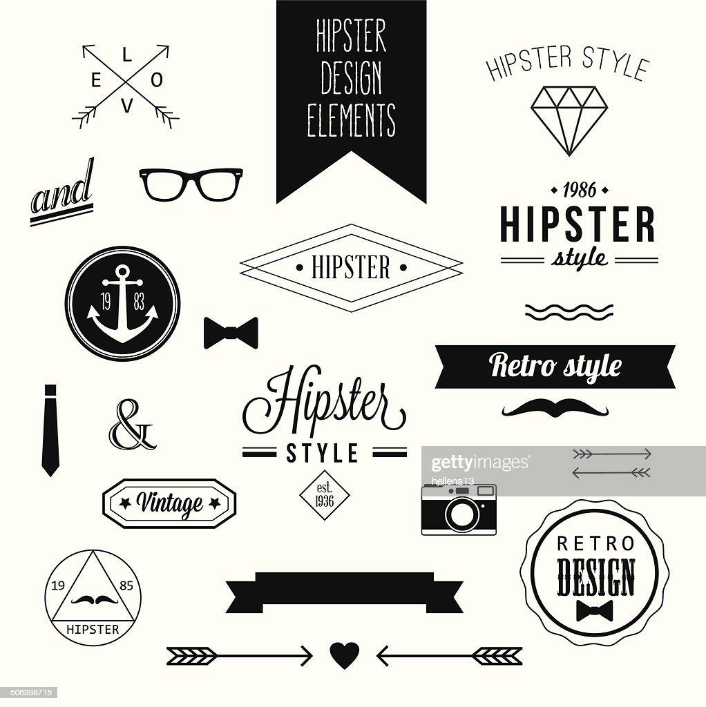Hipster Style Vintage Design Elements