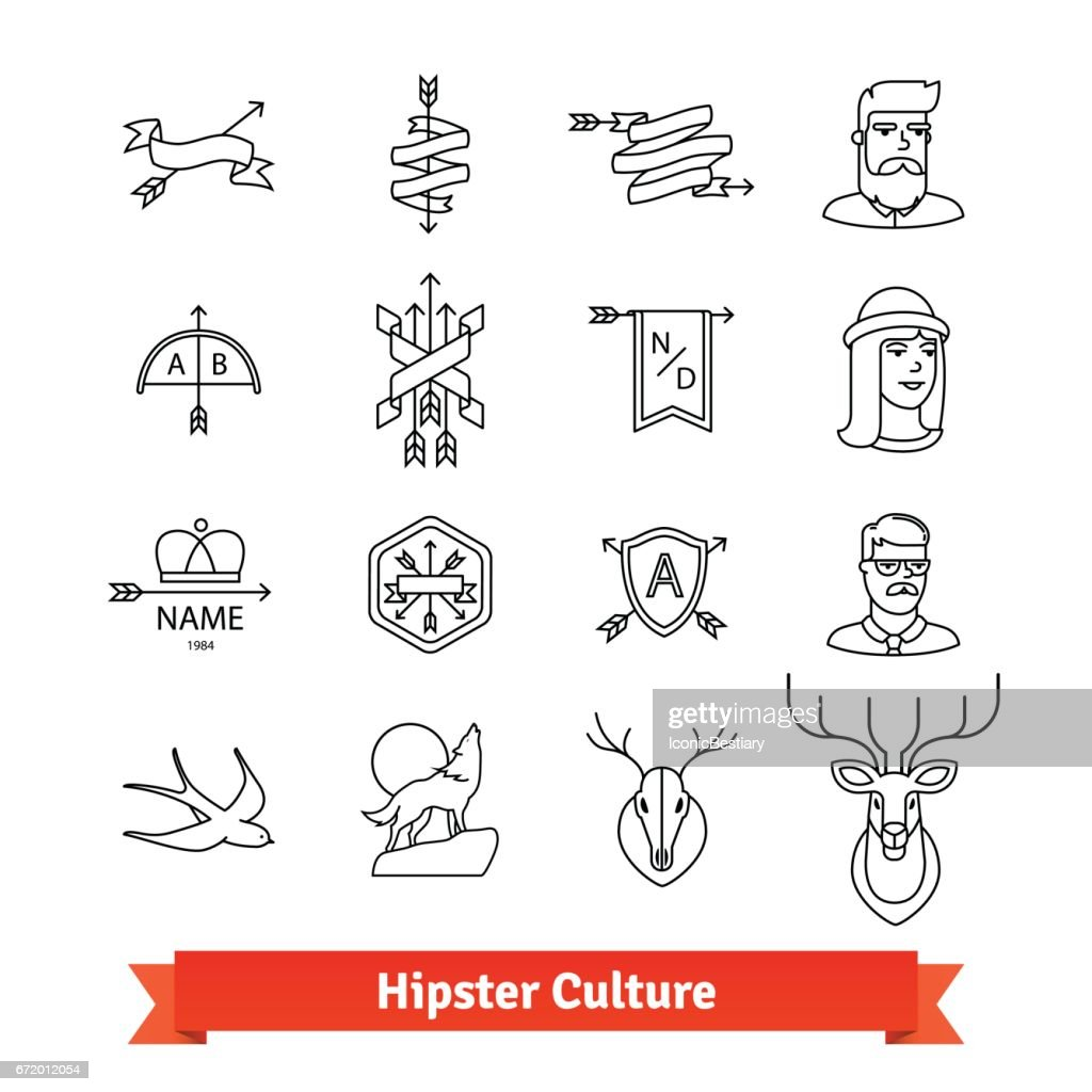 Hipster subculture. Thin line art icons set