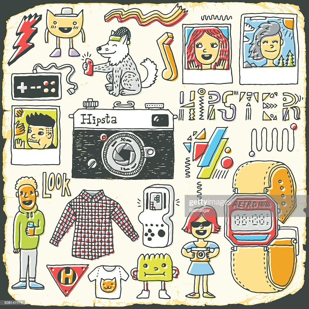 Hipster swag hand drawn colorful doodle set. Vector illustration.
