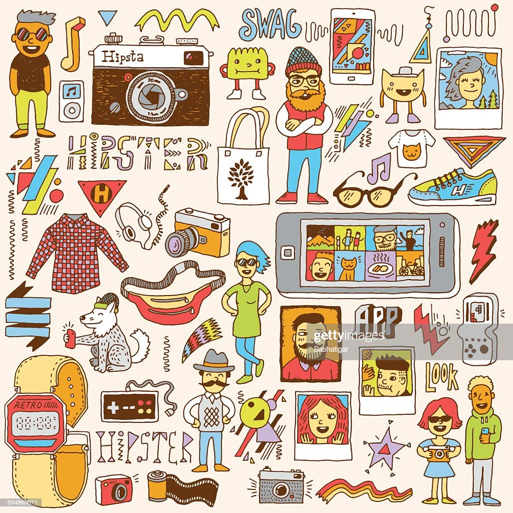 Hipster swag hand drawn doodle set. Vector illustration.