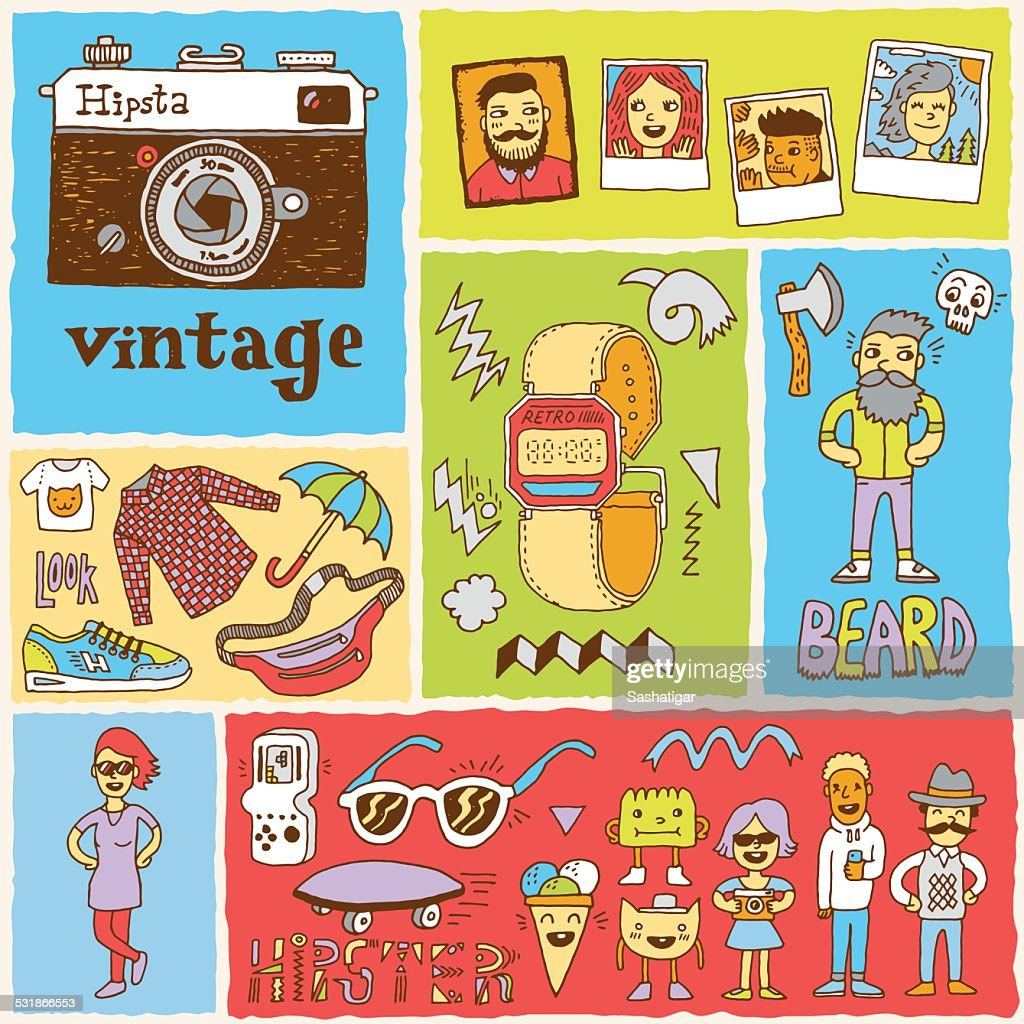 Hipster swag vector doodle hand drawn colorful illustrations set 1.