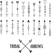 Hipster tribal arrows isolated on white. Line vintage vector illustration