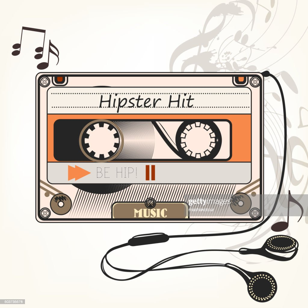 Hipster vector music background with old cassette and headphones